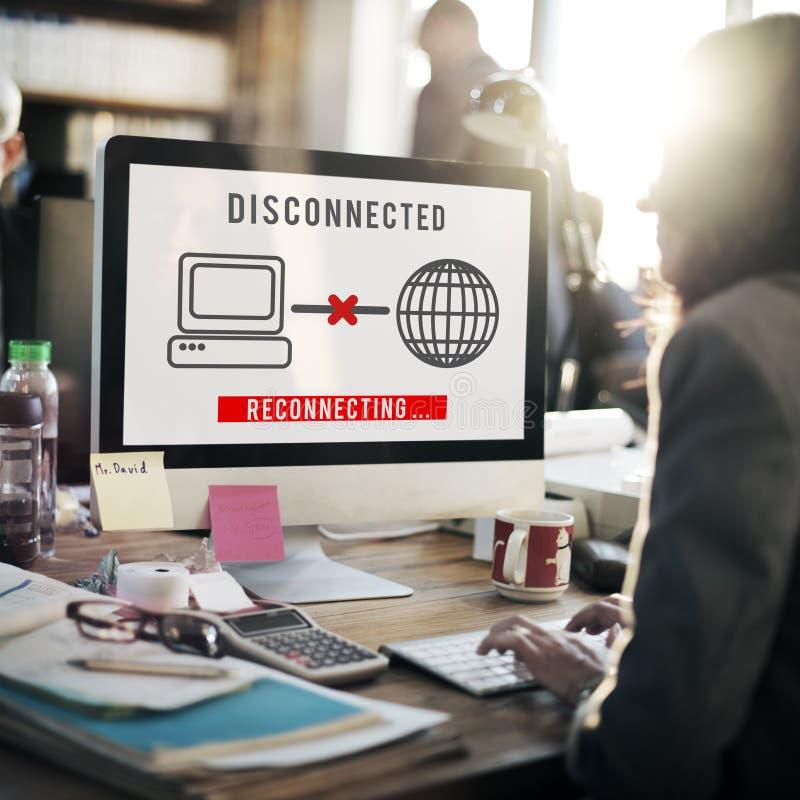 Концепция disconnected ошибки разъединения труднопоступная стоковые фотографии rf
