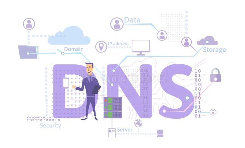 Концепция DNS, система доменных имён Децентрализованный называющ систему для компьютеров, приборов, обслуживаний, или других ресу иллюстрация вектора