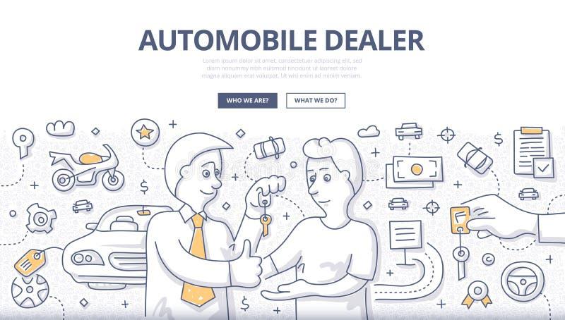 Концепция Doodle автоматического торговца иллюстрация штока