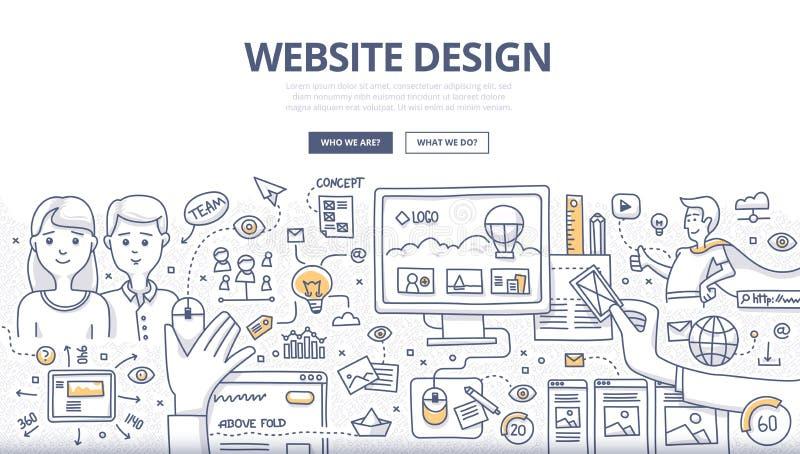 Концепция Doodle веб-дизайна бесплатная иллюстрация