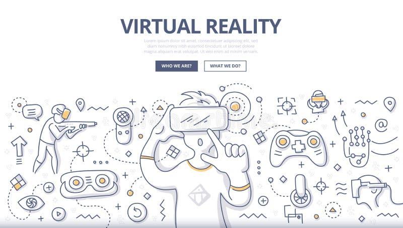 Концепция Doodle виртуальной реальности иллюстрация вектора