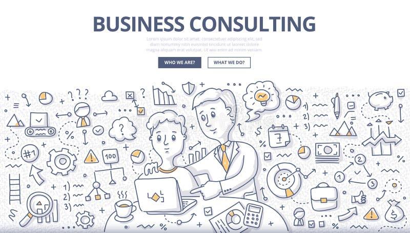Концепция Doodle консультаций по бизнесу иллюстрация штока