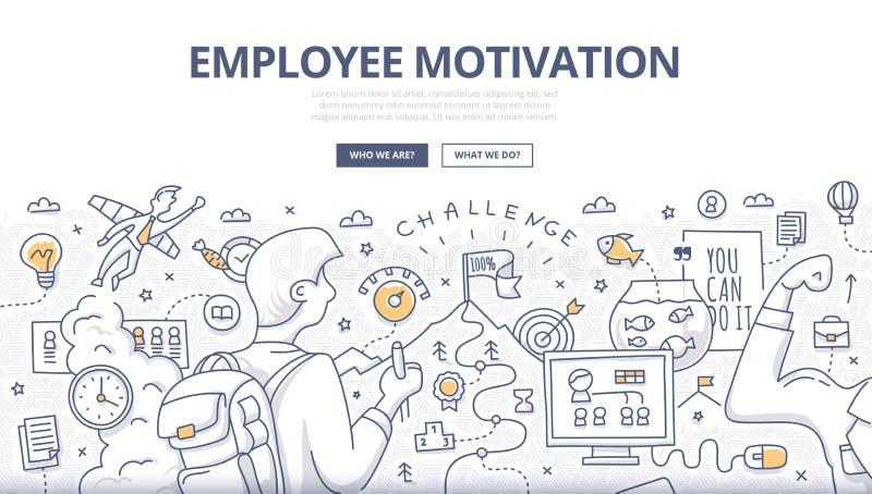 Концепция Doodle мотивировки работника иллюстрация штока