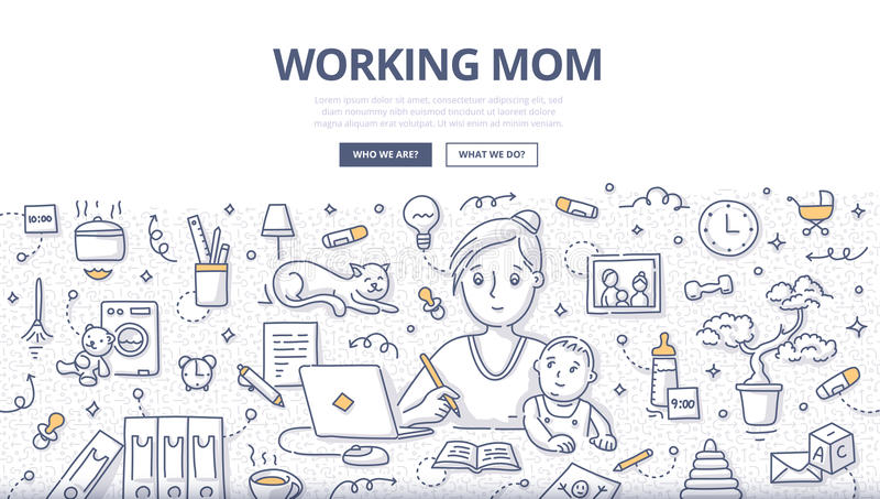 Концепция Doodle работающей мамы иллюстрация штока