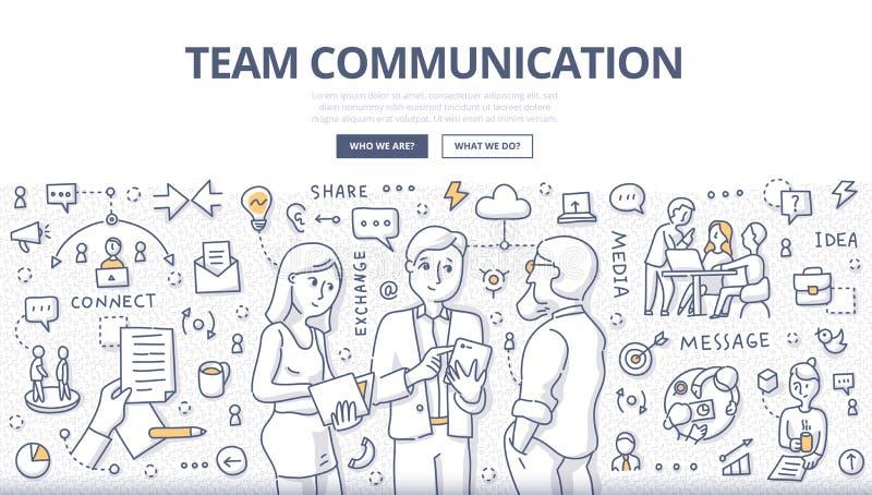 Концепция Doodle связи команды бесплатная иллюстрация