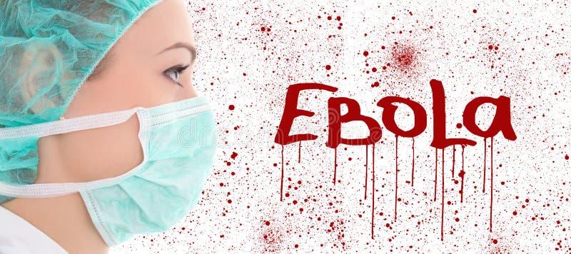 Концепция Ebola - молодой женский доктор в маске хирурга стоковая фотография