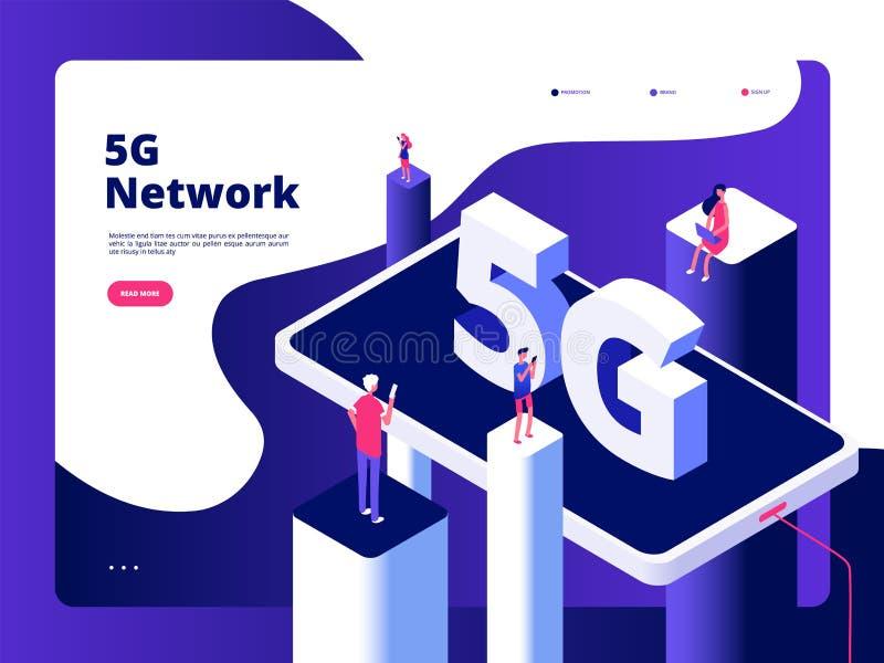 концепция 5g Глобальная вычислительная сеть wifi Точек доступа интернета скорости технологии передатчика 5g смартфона широкополос иллюстрация штока