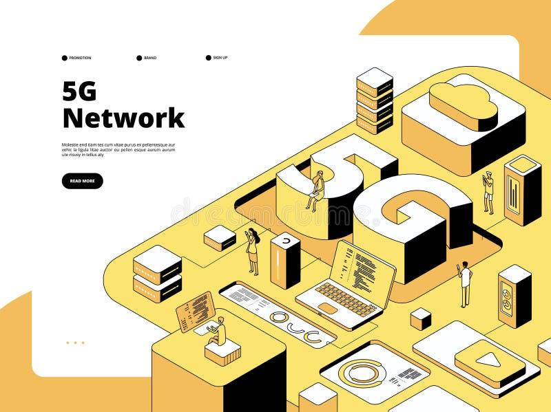 концепция 5g Wifi передавая 5g технологию, интернет скорости в смартфоне Вектор Точки доступа глобальной вычислительной сети равн иллюстрация вектора