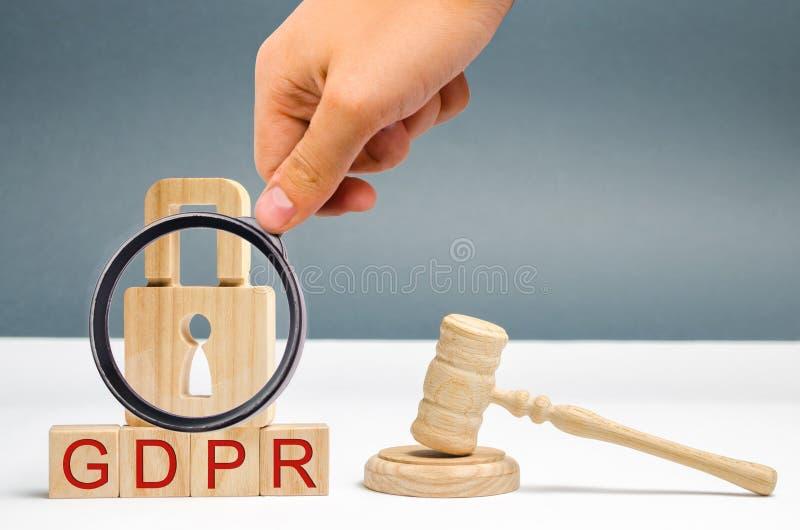 Концепция GDPR Регулировка защиты данных Безопасность и уединение кибер Закон на защите данных и уединение для всех индивидуалов стоковая фотография