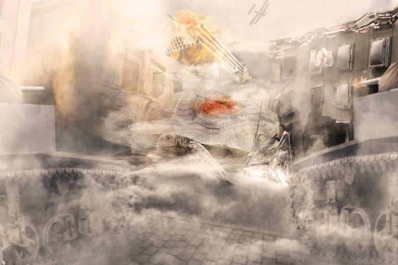 Концепция Gianat Tourtle атакуя город иллюстрация штока