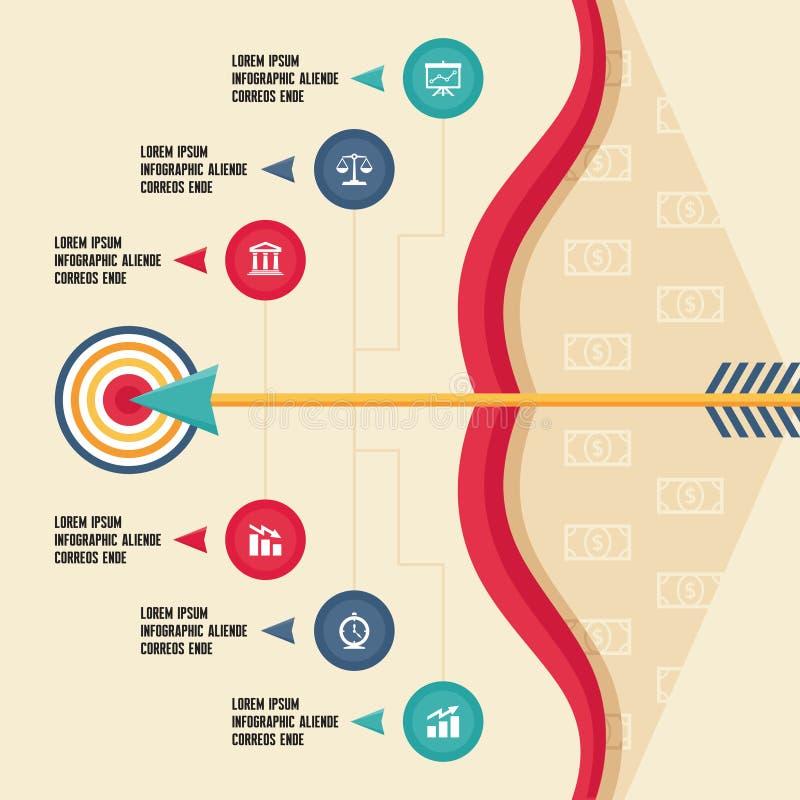 Концепция Infographic с смычком, стрелкой и целью для иллюстрация вектора