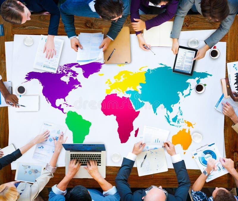 Концепция International глобализации картоведения мира глобальная стоковое изображение rf