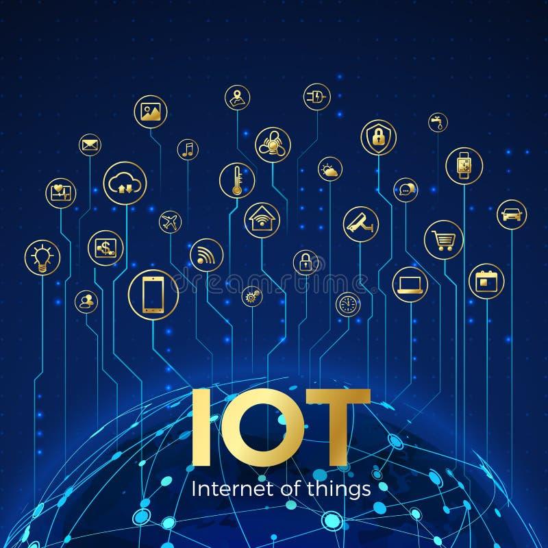 Концепция IOT Интернет вещей Соединение глобальной вычислительной сети Значки систем контроля и контроля умные r иллюстрация штока