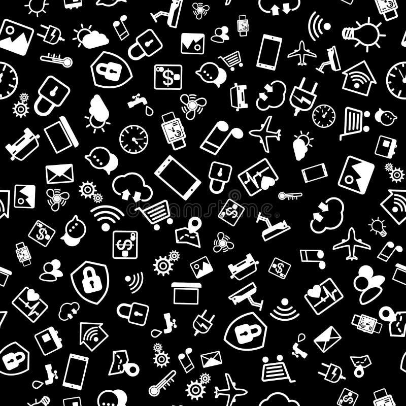 Концепция IOT Интернет картины значков вещей безшовной Собрание значков для умного дома или умной концепции города r иллюстрация штока
