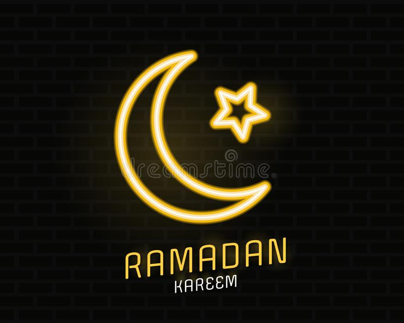 Концепция kareem Рамазан с желтыми нео светлыми луной и звездой на черном дизайне вектора кирпичной стены иллюстрация штока