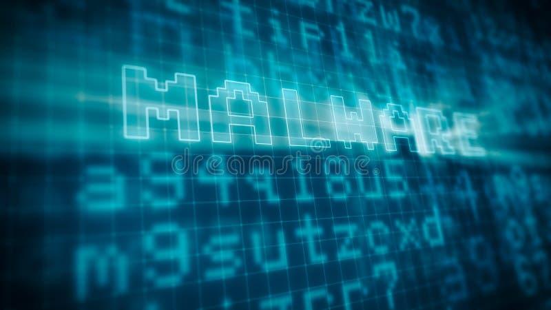 Концепция malware компьютера иллюстрация вектора