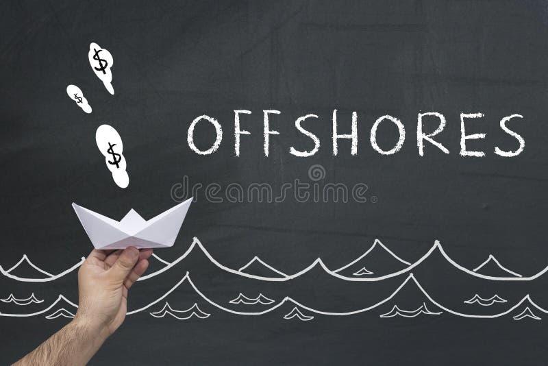 Концепция Offshores на доске стоковое изображение