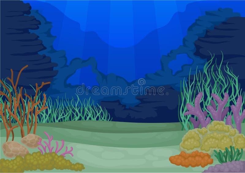 Концепция Seascapes Ландшафт морской флоры и фауны также вектор иллюстрации притяжки corel иллюстрация вектора