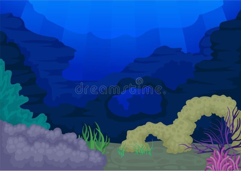 Концепция Seascapes Океан и подводный мир также вектор иллюстрации притяжки corel бесплатная иллюстрация