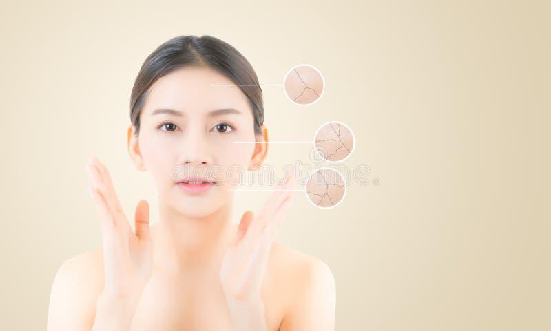 концепция skincare и здоровья - красивая азиатская сторона молодой женщины стоковая фотография rf