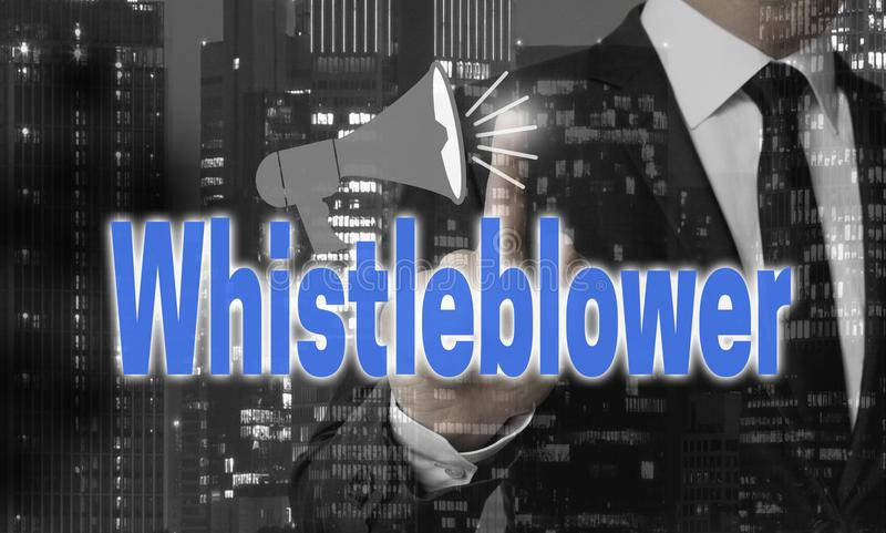 Концепция Whistleblower показана бизнесменом стоковые фото