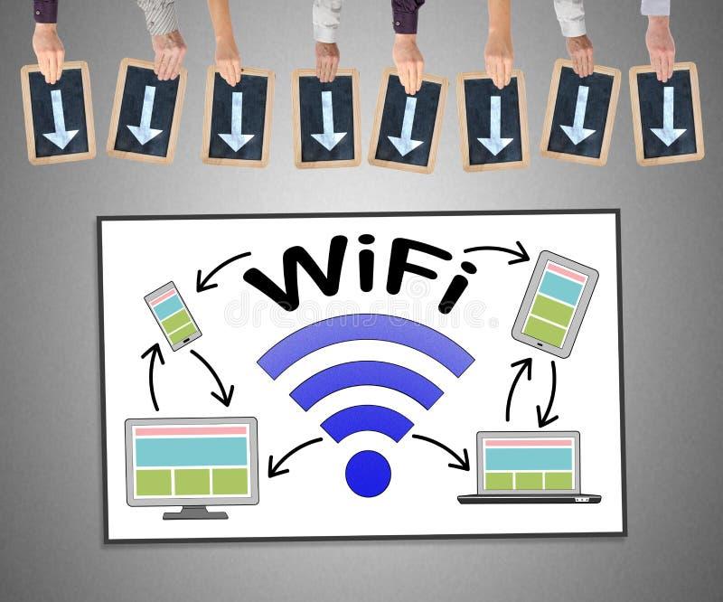 Концепция Wifi на whiteboard иллюстрация штока