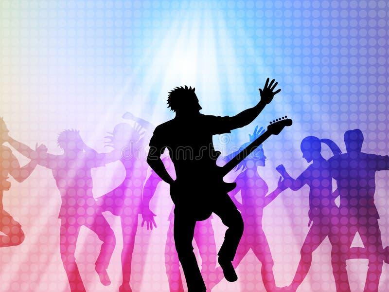 Концерт музыки представляет событие в реальном маштабе времени и Бродвей иллюстрация вектора