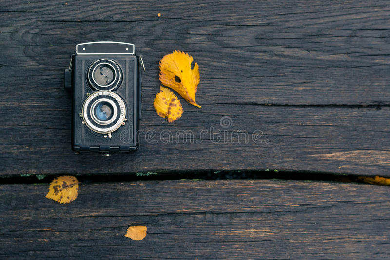 Концерт осени, ретро камера на предпосылке autum стоковые изображения