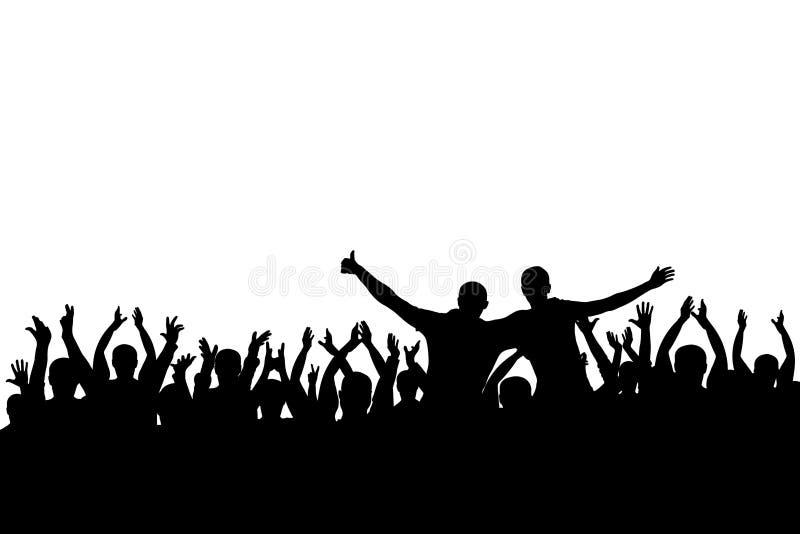 Концерт, партия Силуэт предпосылки толпы рукоплескания, жизнерадостные люди Смешной веселить, изолированный иллюстрация вектора