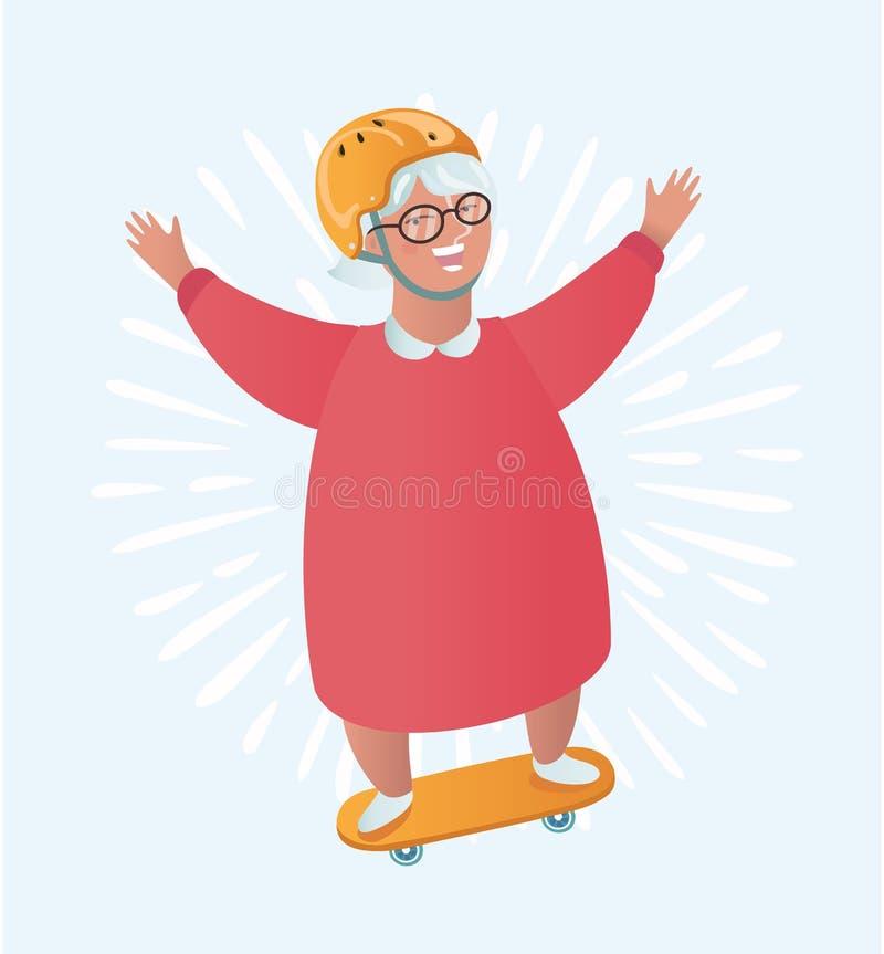 Конькобежец езды характера бабушки Иллюстрация шаржа вектора плоская иллюстрация штока