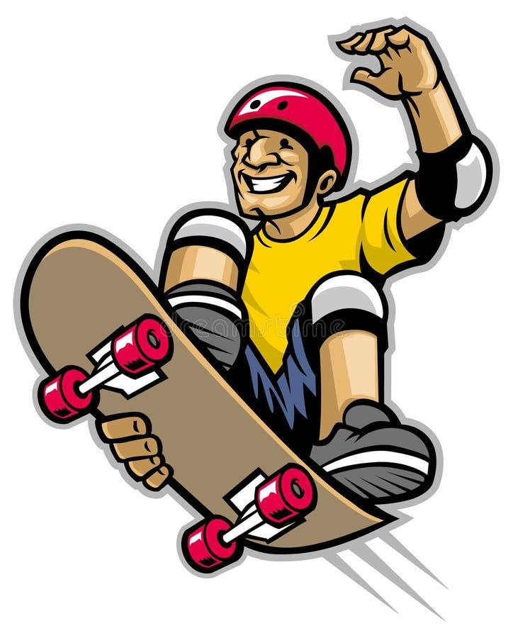 Конькобежец делая фокус скейтборда иллюстрация вектора