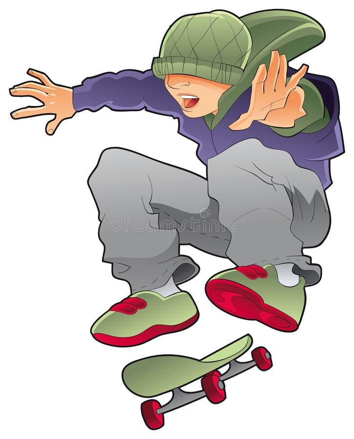 конькобежец мальчика иллюстрация вектора