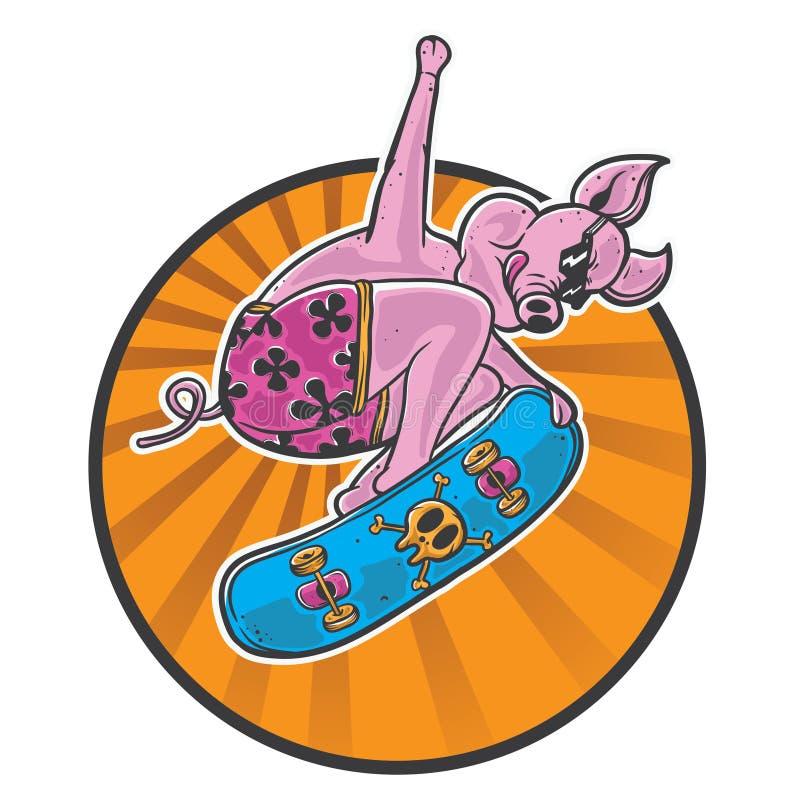 Конькобежец свиньи в действии иллюстрация вектора