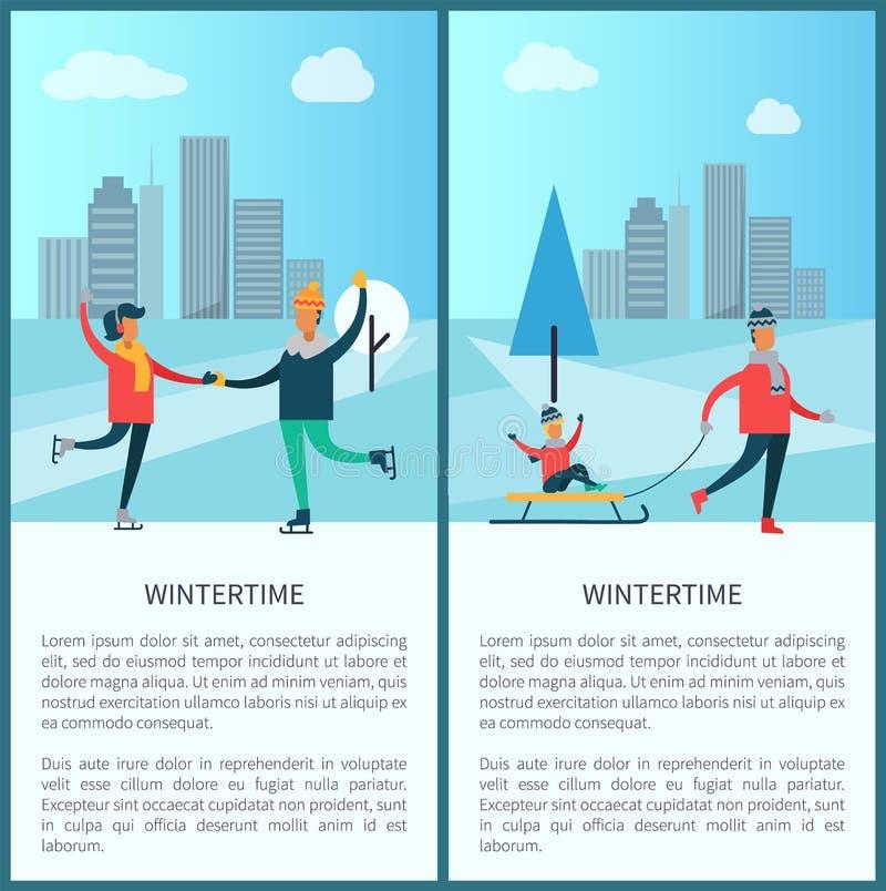 Конькобежцы Wintertime и иллюстрация вектора семьи иллюстрация вектора