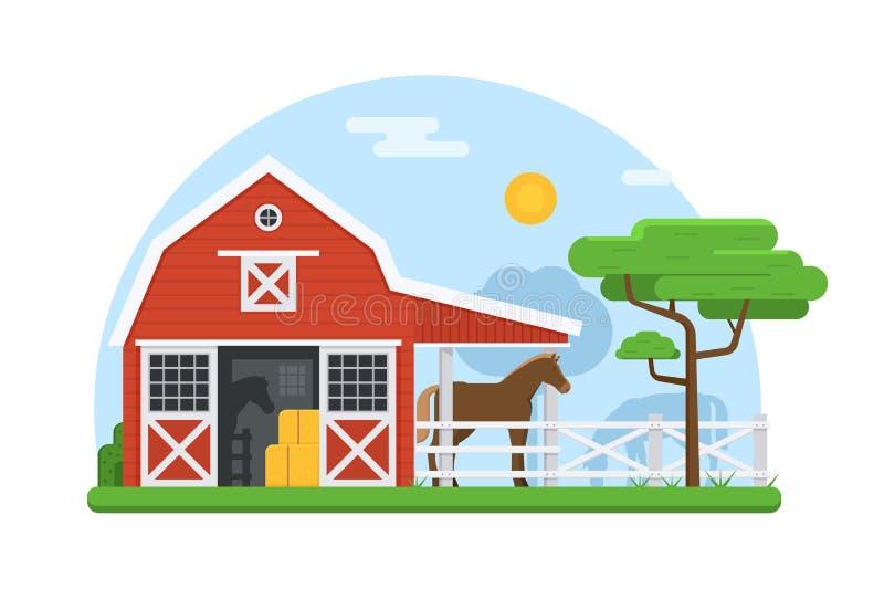 Конюшни лошади в плоском дизайне иллюстрация штока