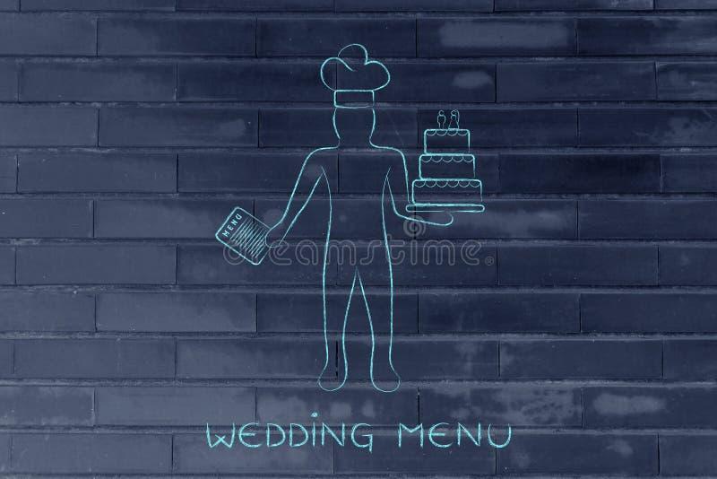 Кондитер с меню и свадебным пирогом иллюстрация вектора