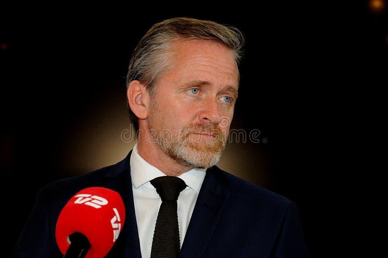 Копенгаген/Дания 15 Ноябрь 2018 3 министра министр Дании Андерса Samuelsen датский для иностранных дел служат для стоковое изображение