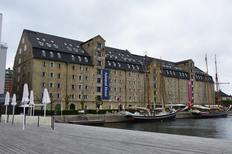КОПЕНГАГЕН, ДАНИЯ - 31-ОЕ МАЯ 2017: Адмирал Гостиница гостиница в центральном Копенгагене, Дании стоковые изображения rf