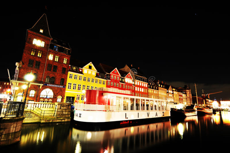 Копенгаген к ноча стоковое фото