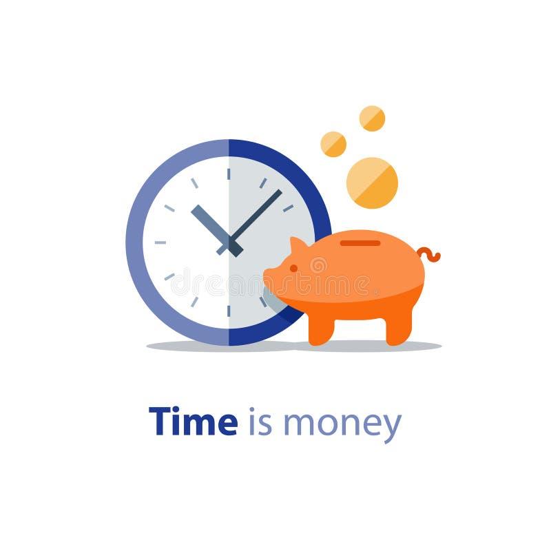 Копилка, время сумки денег, часов и денег бесплатная иллюстрация