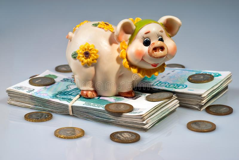 Копилка на пуке русских рублей стоковые изображения rf