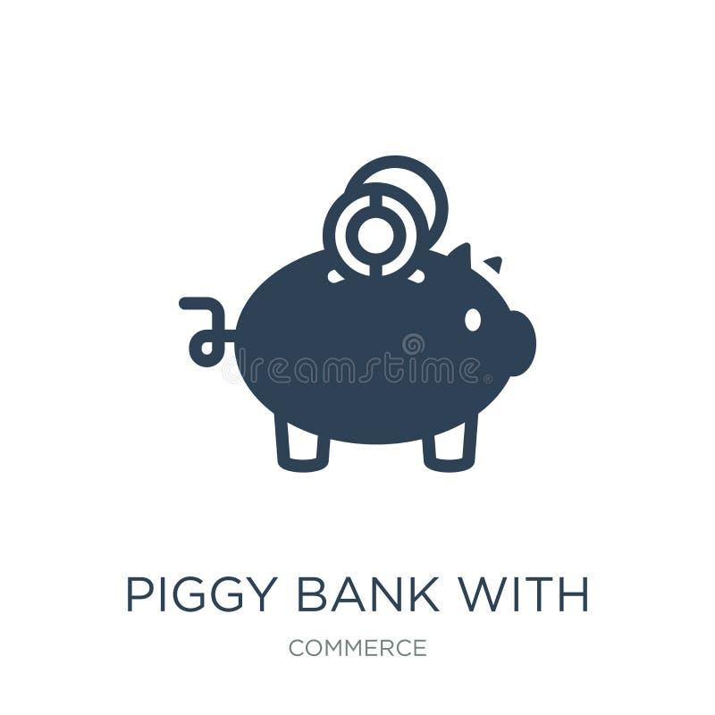 копилка со значком монетки в ультрамодном стиле дизайна копилка с изолированным значком монетки на белой предпосылке Piggy банк с бесплатная иллюстрация