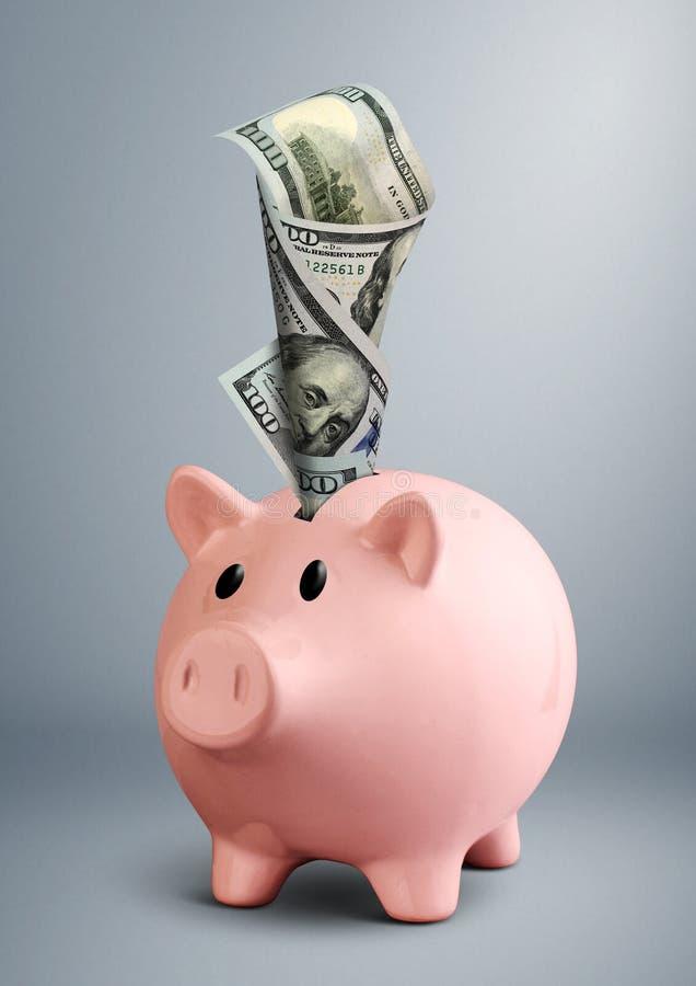 Копилка с долларом на серой предпосылке стоковые фотографии rf