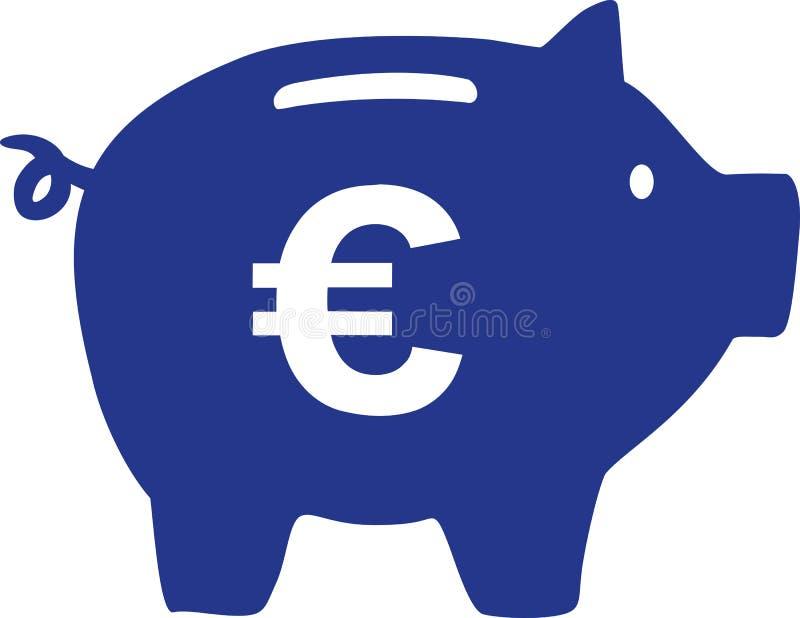 Копилка с знаком евро иллюстрация вектора