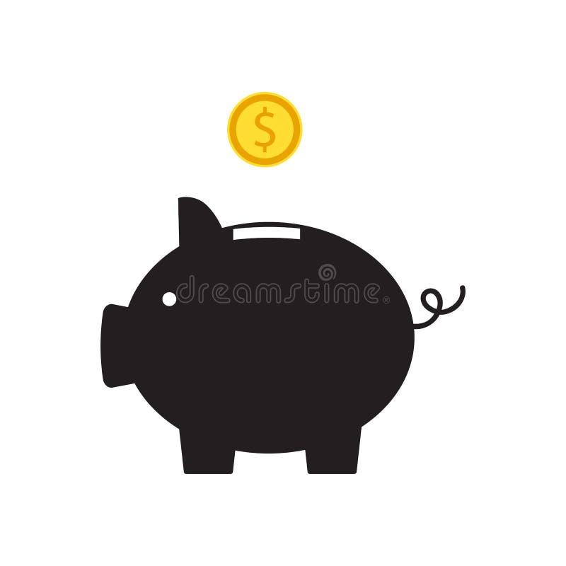 Копилка с значком монетки, изолированным плоским стилем Принципиальная схема денег иллюстрация штока