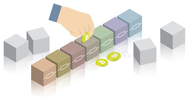 Копилка blockchain Bitcoin с золотыми монетами и блоками 3D или кубами соединенными с цепями иллюстрация штока