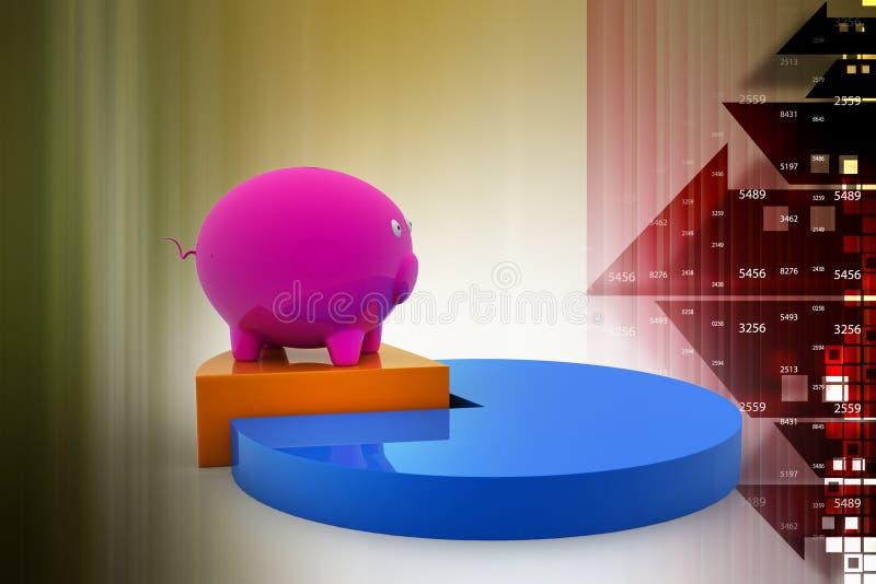 Копилка на долевой диограмме, процент сбережений иллюстрация вектора