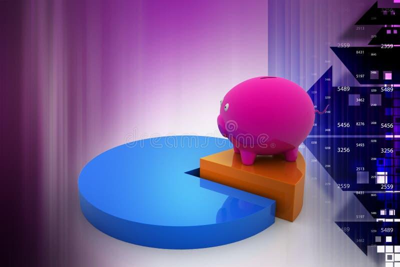 Копилка на долевой диограмме, процент сбережений бесплатная иллюстрация