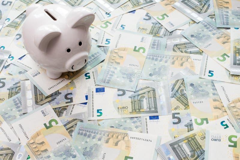 Копилка окруженная 5 примечаниями евро стоковая фотография rf