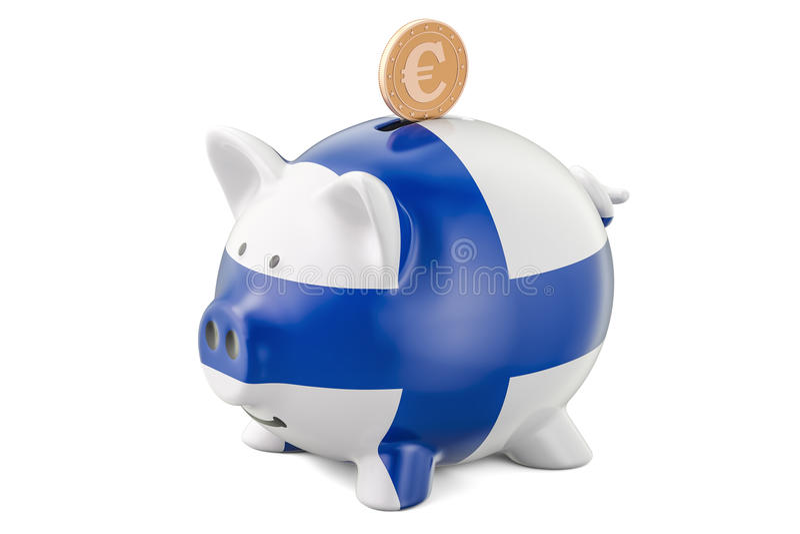 Копилка с флагом Финляндии и золотое евро чеканят Инвестиция иллюстрация вектора